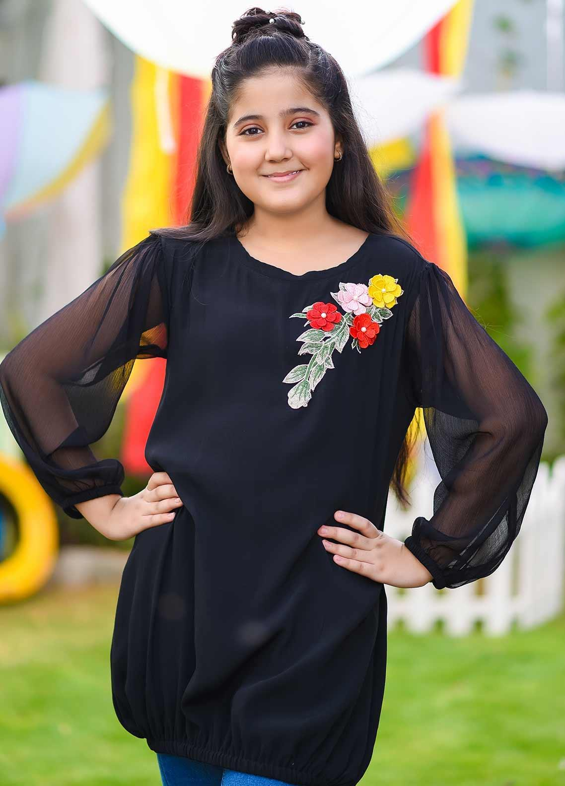 Ochre Crepe Fancy Girls Western Tops -  OWT 398 Black
