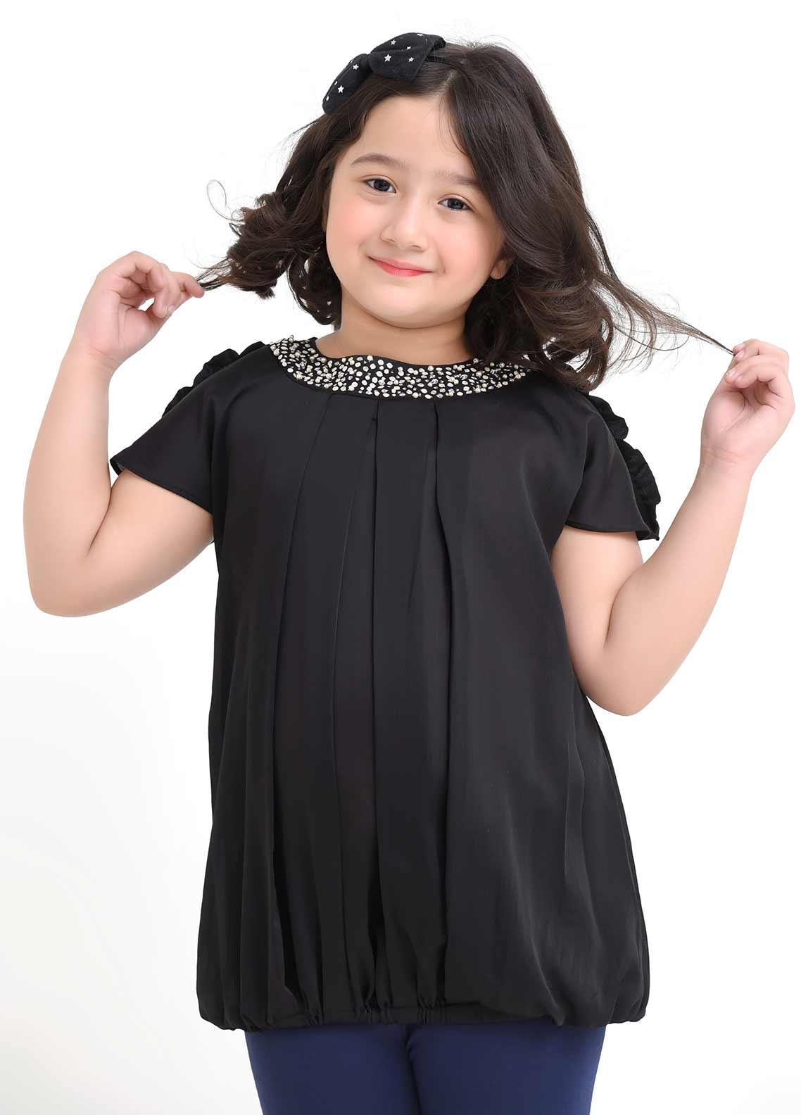 Ochre Silk Fancy Girls Western Tops -  OWT 409 Black