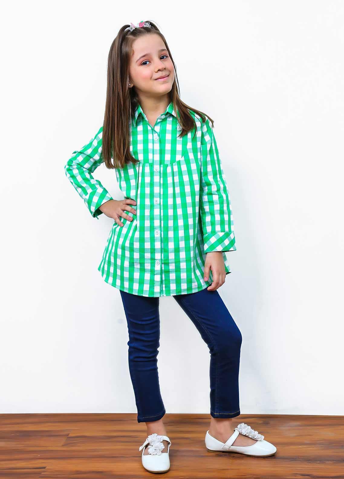 Ochre Cotton Fancy Western Tops for Girls -  OWT 421 Green