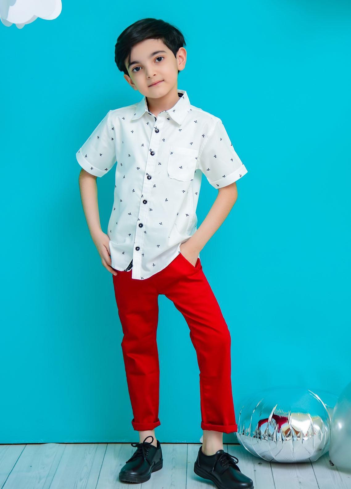 Ochre Cotton Casual Boys Shirt -  OBS-34 White