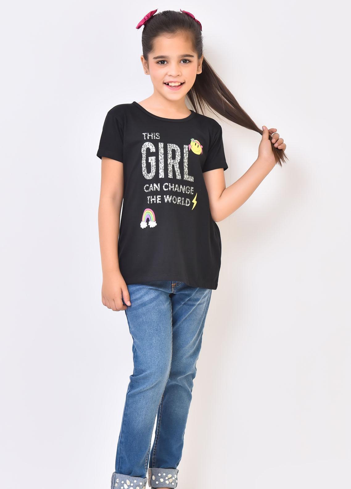 Ochre Cotton Fancy Top for Girls -  OGK-76 Black
