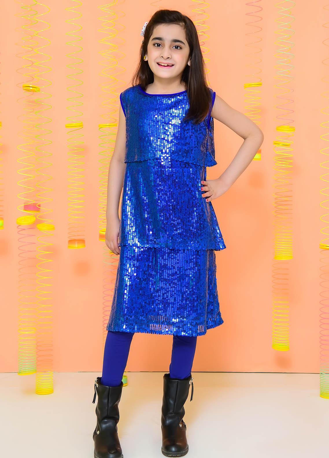 Ochre Net Fancy Girls Top -  OWT 362 Royal Blue