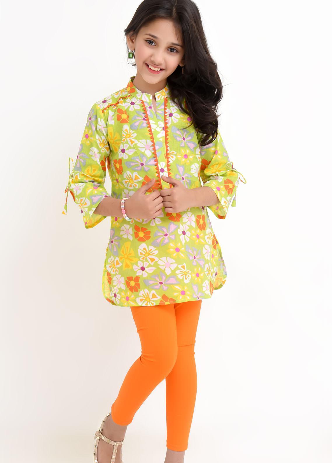 Ochre Cotton Fancy Top for Girls -  OWT-429 Lime Green