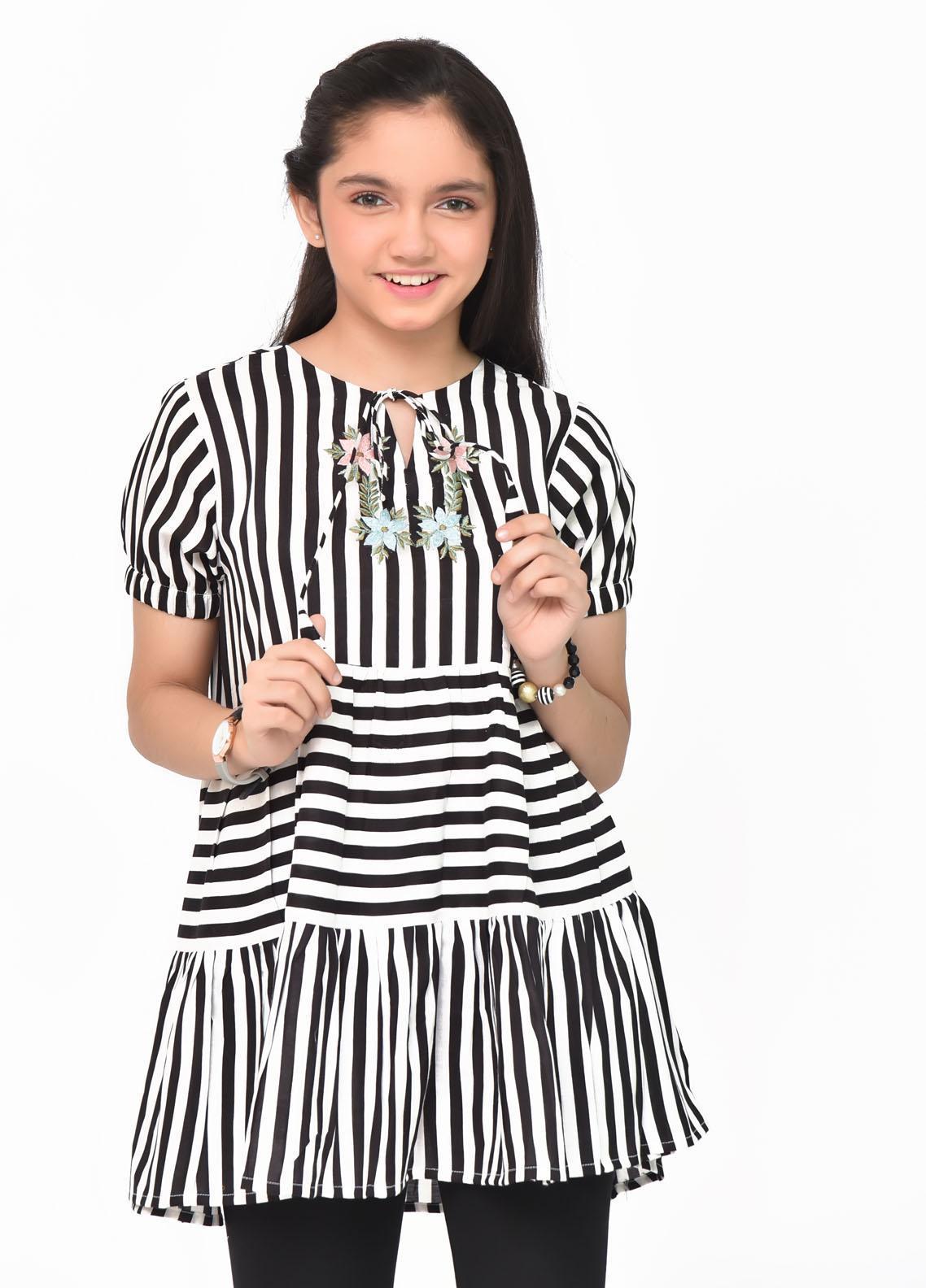 Ochre Linen Fancy Western Top for Girls -  OWT-432 Black & White