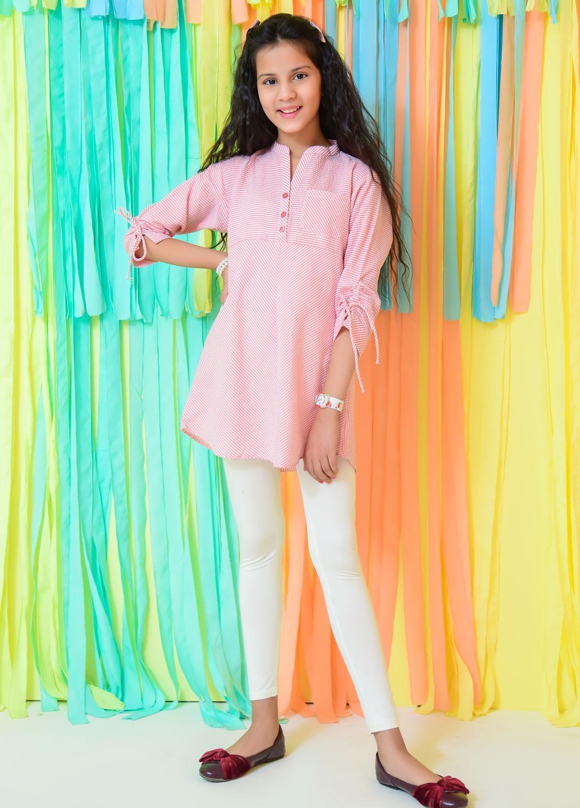 Ochre Cotton Fancy Western Top for Girls -  OWT-446 Peach