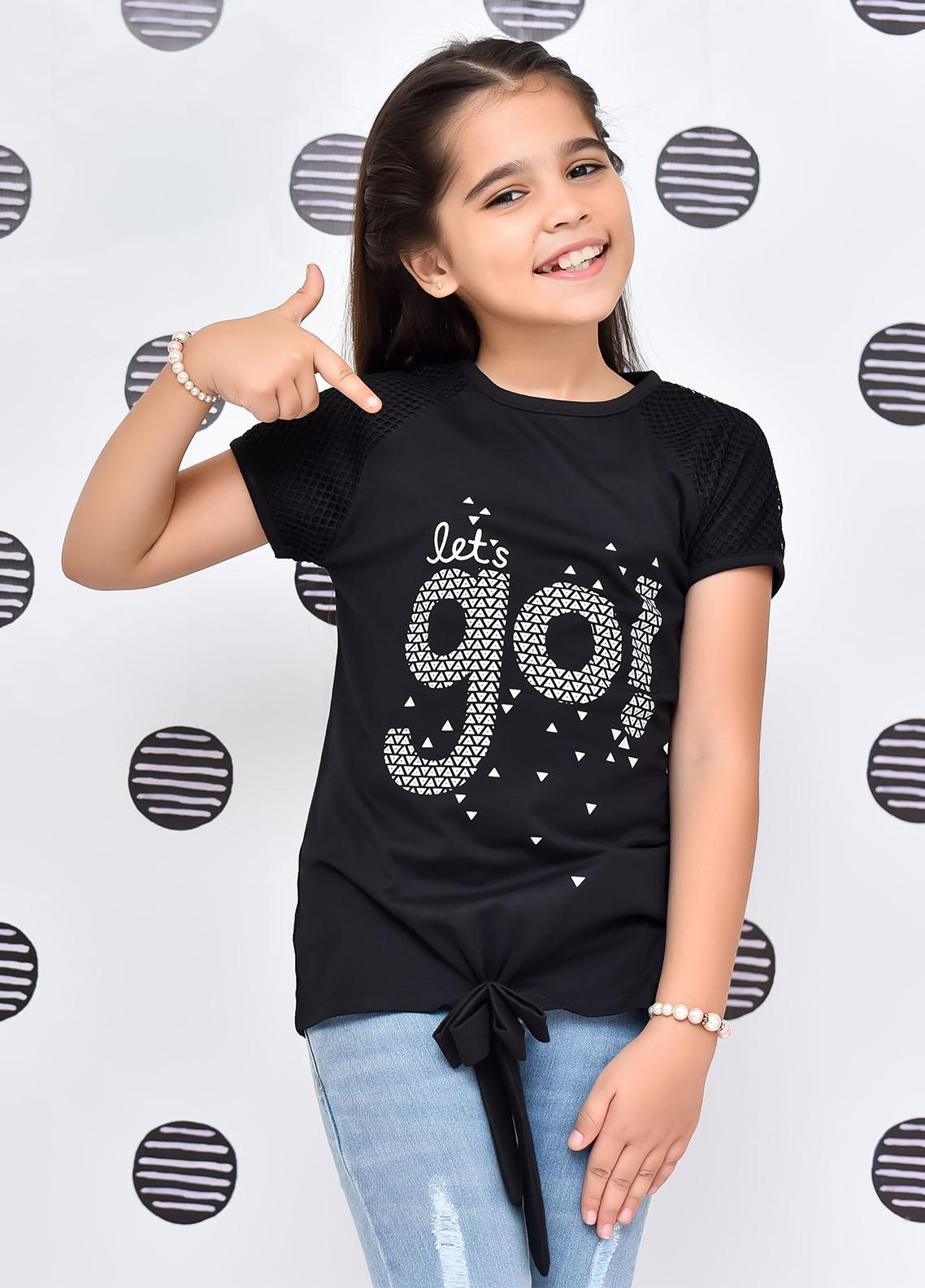 Ochre Cotton Western Top for Girls -  OGK-90 Black