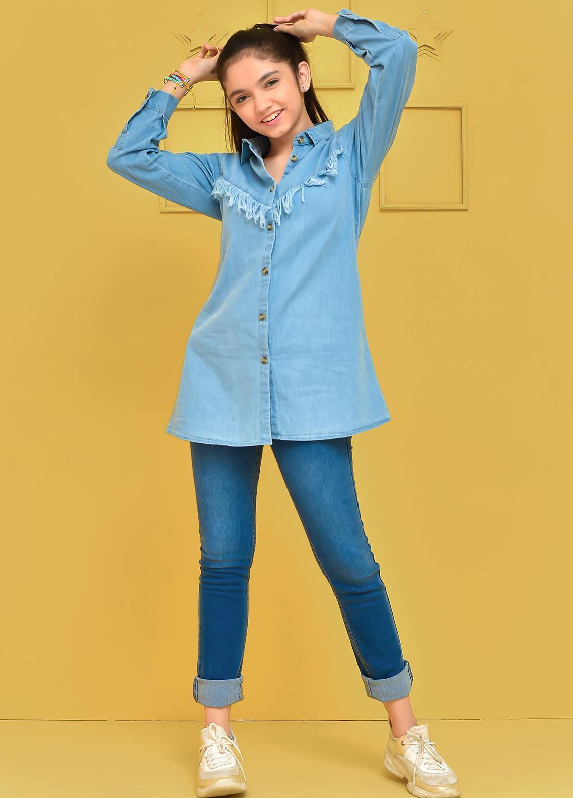Ochre Cotton Western Top for Girls -  OWT-454 Blue