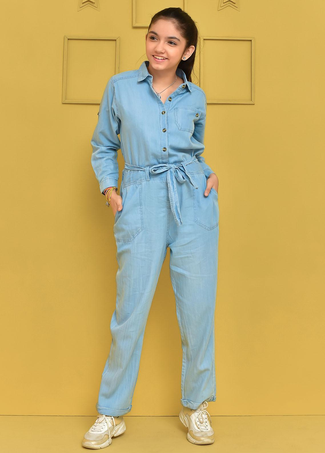Ochre Cotton Western Jumpsuit for Girls -  OWT-455 Blue