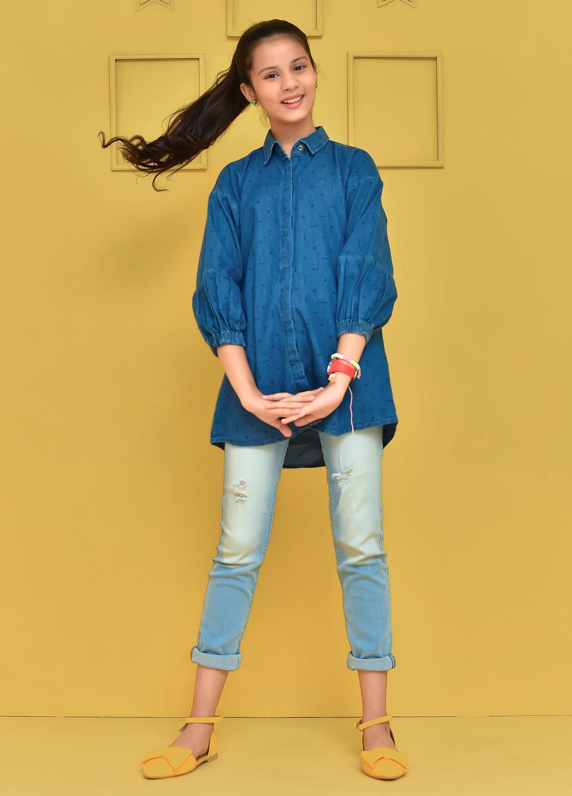 Ochre Cotton Western Top for Girls -  OWT-456 Blue