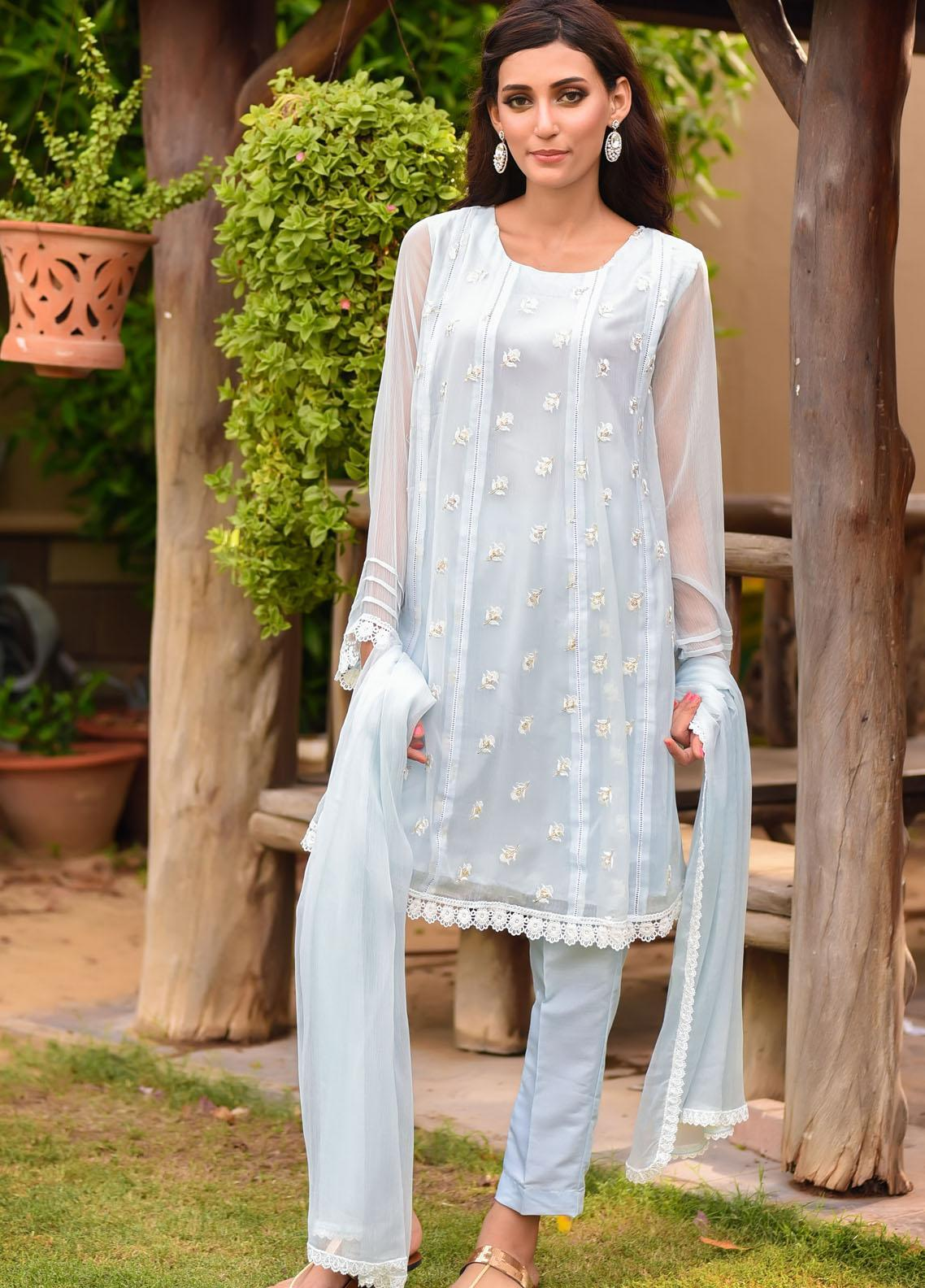 Ochre Embroidered Chiffon Stitched 3 Piece Suit OFW-261(M) Tiffany Blue