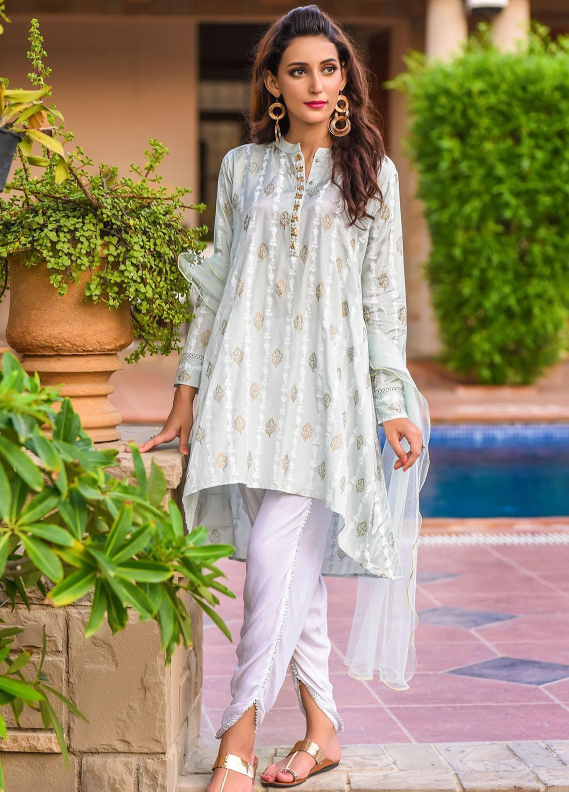 Ochre Embroidered Cotton Silk Stitched 3 Piece Suit OFW-277(M) Steel Grey