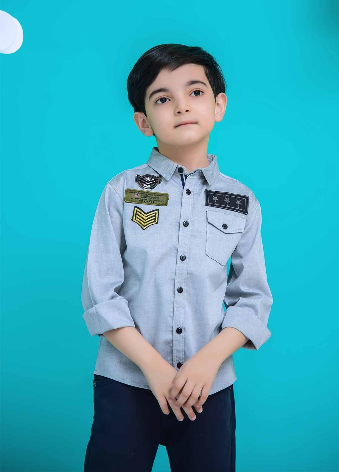 Ochre Cotton Casual Boys Shirts -  OBS 09 Grey