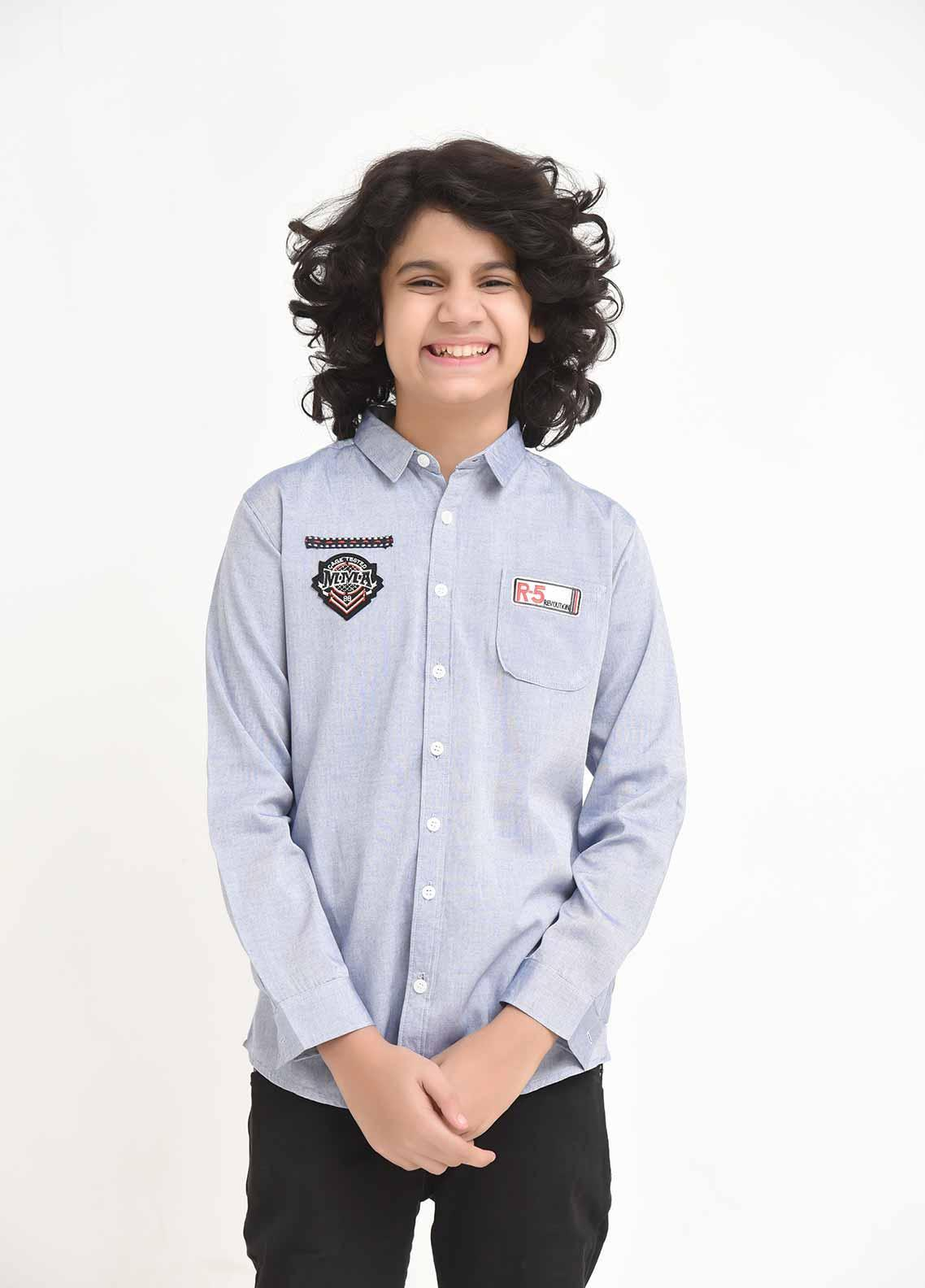 Ochre Cotton Casual Shirts for Boys -  OBS 10 Light Blue