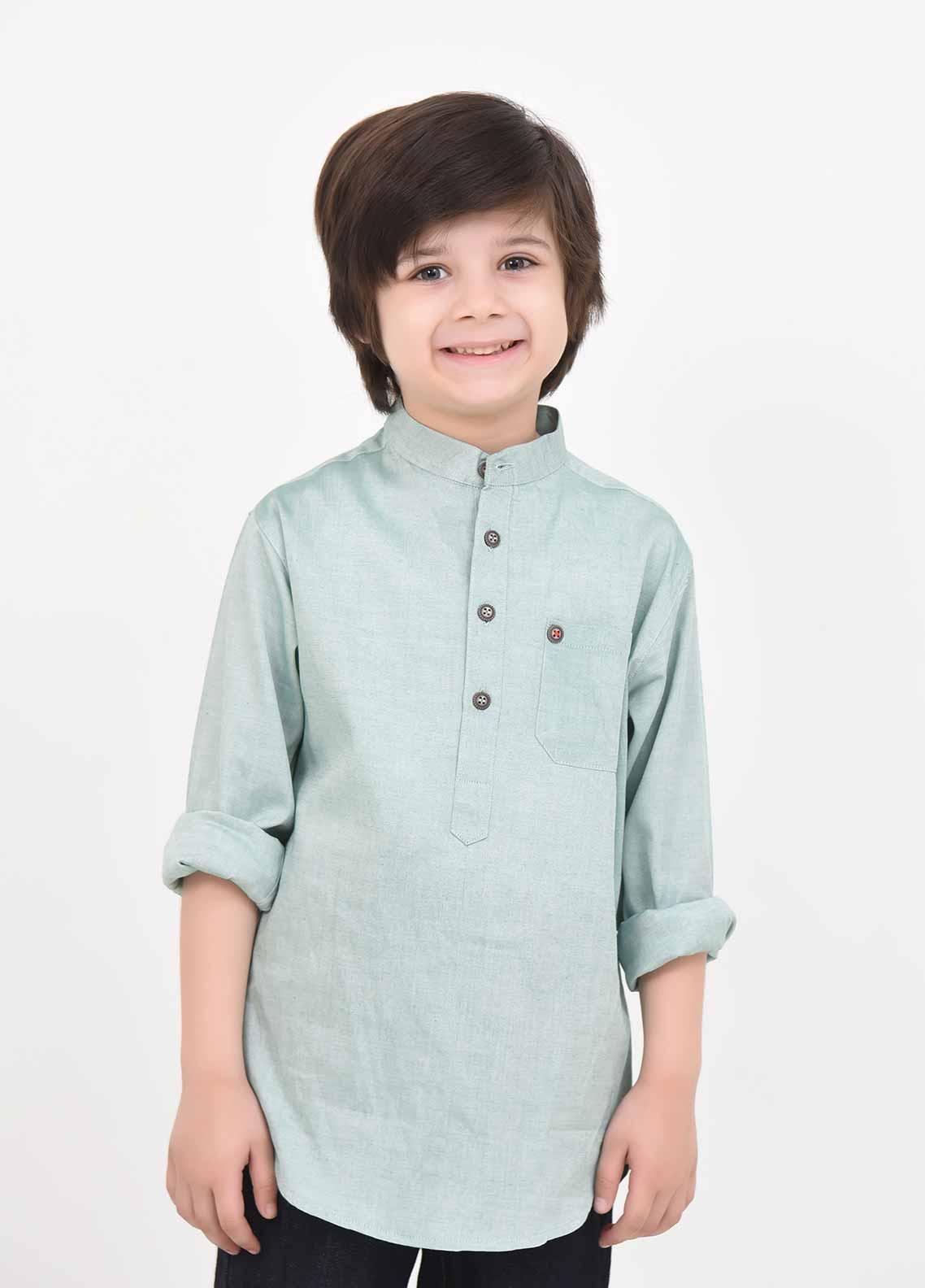 Ochre Cotton Casual Boys Shirts -  OBS 11 Light Green