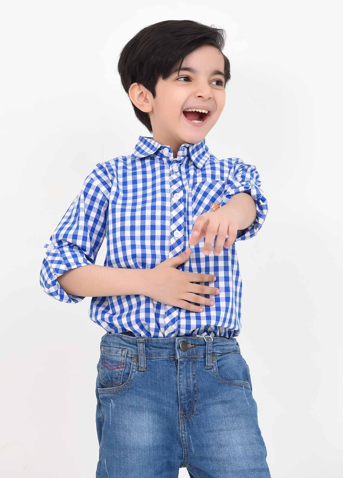 Ochre Cotton Casual Boys Shirts -  OBS 13 Blue