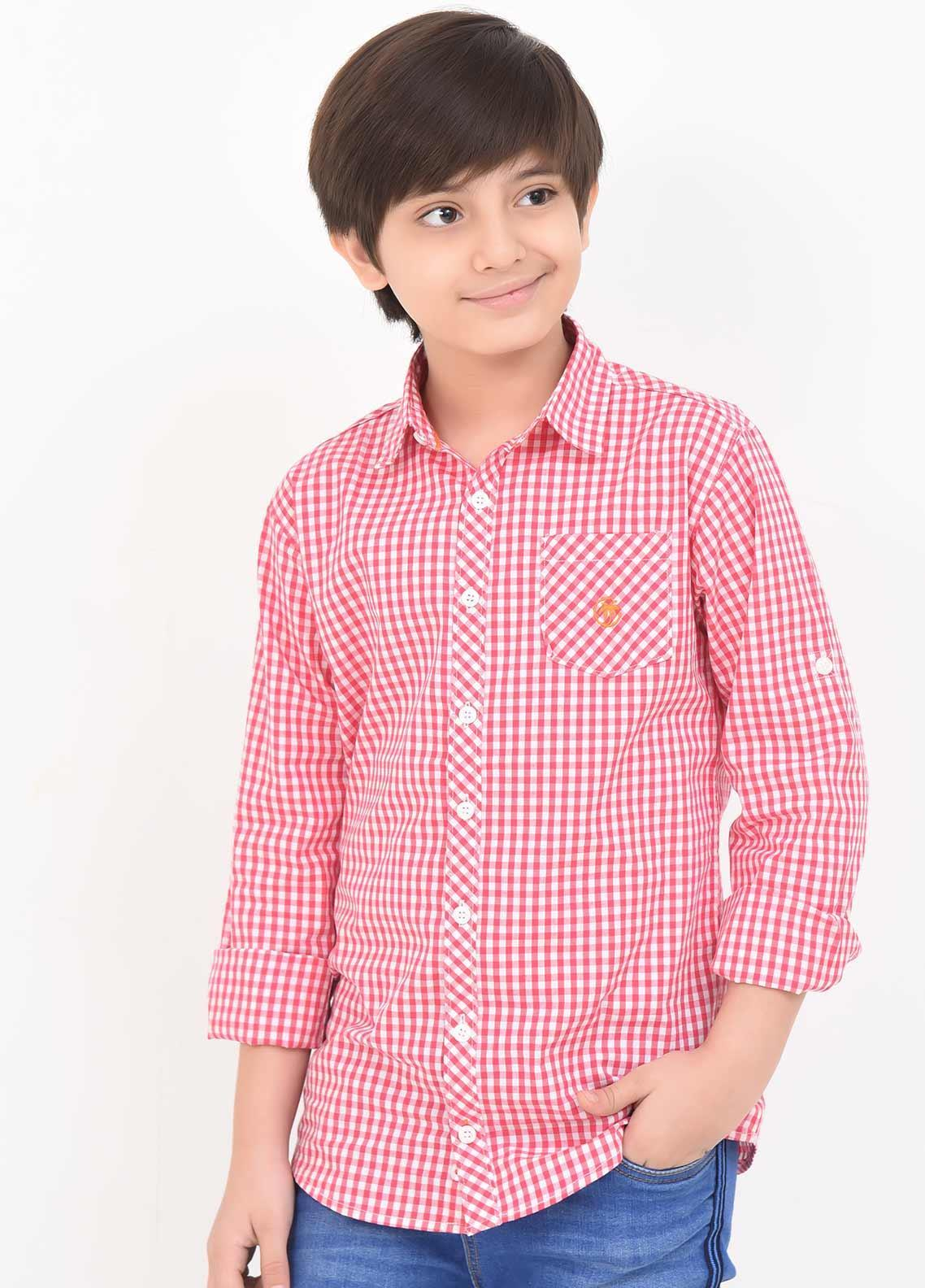 Ochre Cotton Casual Shirts for Boys -  OBS 14 Red