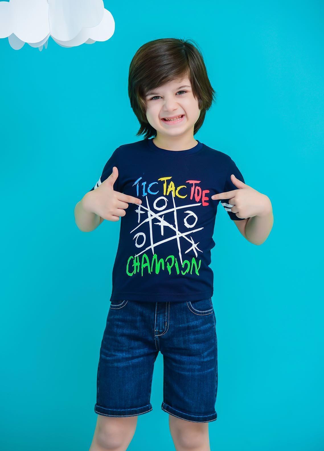 Ochre Cotton  T-Shirt for Boys -  OKB-81 Navy
