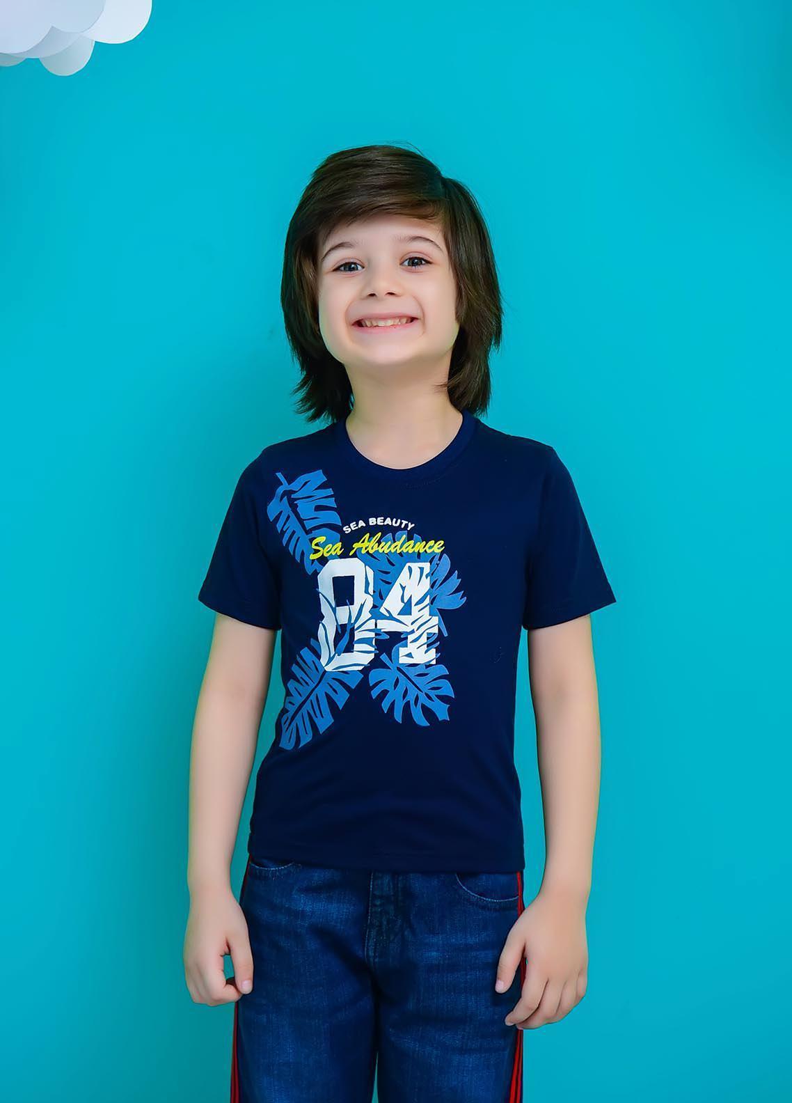Ochre Cotton  Boys T-Shirt -  OKB-89 Navy