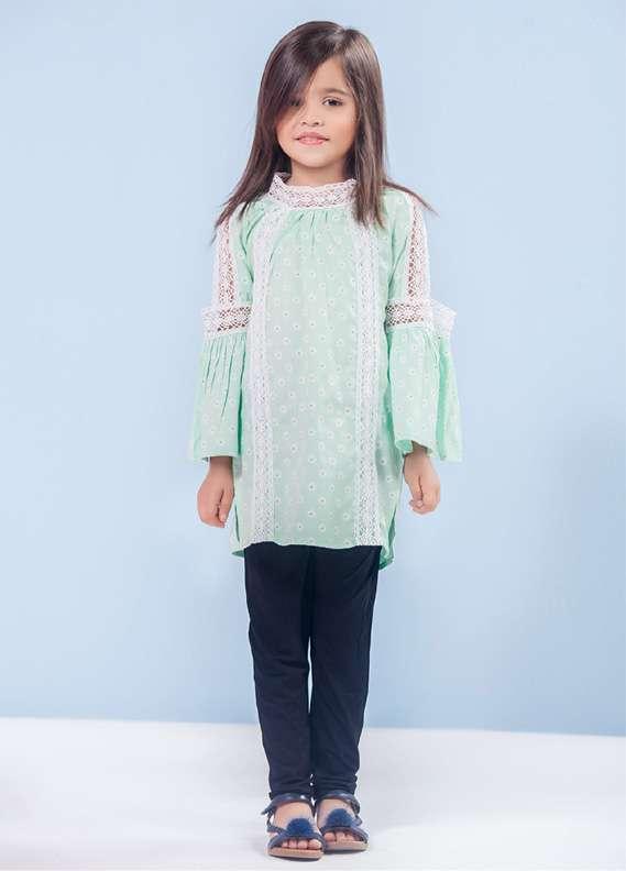 Ochre Cotton Fancy Tops for Girls - Mint Green OCT 002
