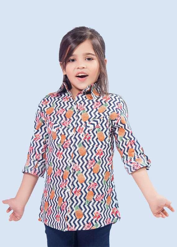 Ochre Cotton Printed Tops for Girls - Black & White OCTT 01