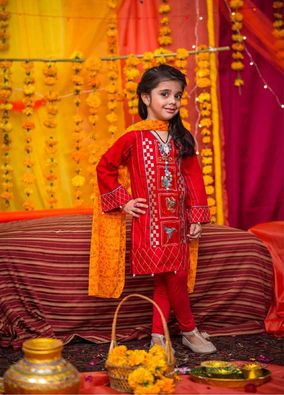 Ochre Cotton Embroidered 2 Piece Suits for Girls - Red OFK 513