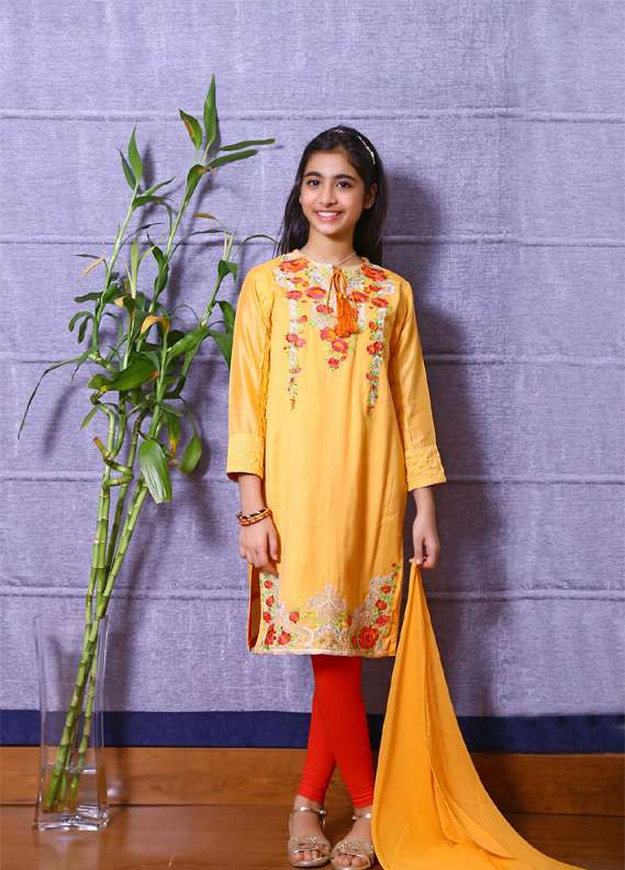 Ochre Cotton Embroidered 2 Piece Suit for Girls - Yellow OFK 515