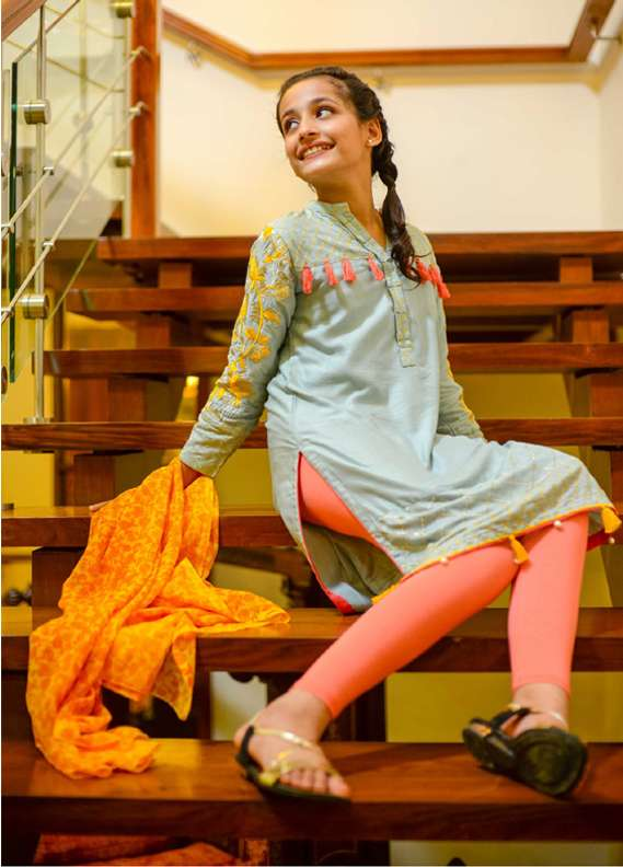 Ochre Cotton Net Embroidered 2 Piece Suits for Girls - Grey OFK 522