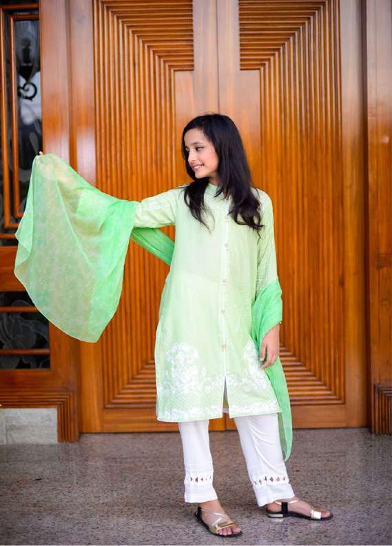 Ochre Cotton Embroidered 3 Piece Suit for Girls - Green OFK 529