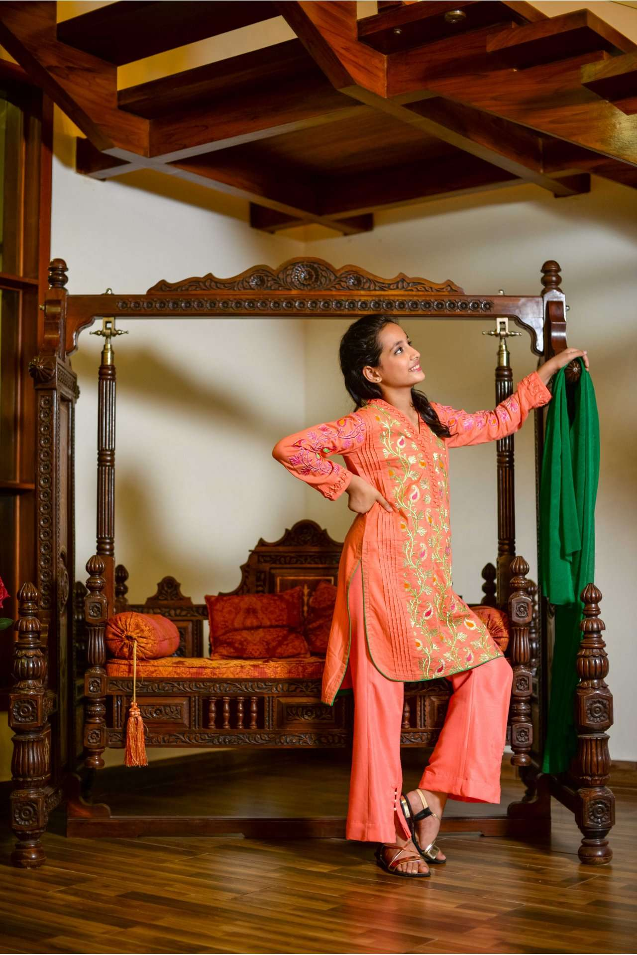 Ochre Cotton Embroidered Girls 3 Piece Suits - Pink OFK 531