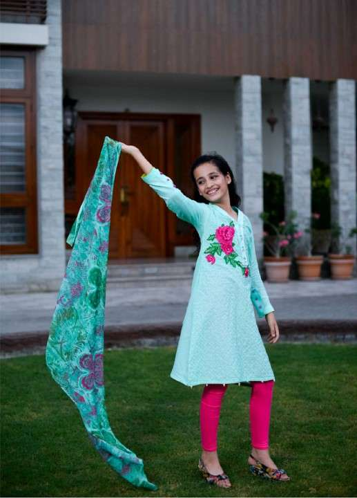 Ochre Cotton Embroidered 2 Piece Suit for Girls - Green OFK 534