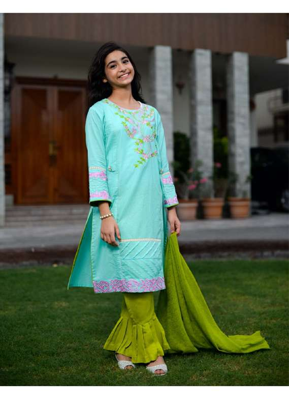Ochre Cotton Embroidered 3 Piece Suit for Girls - Ferozi OFK 536