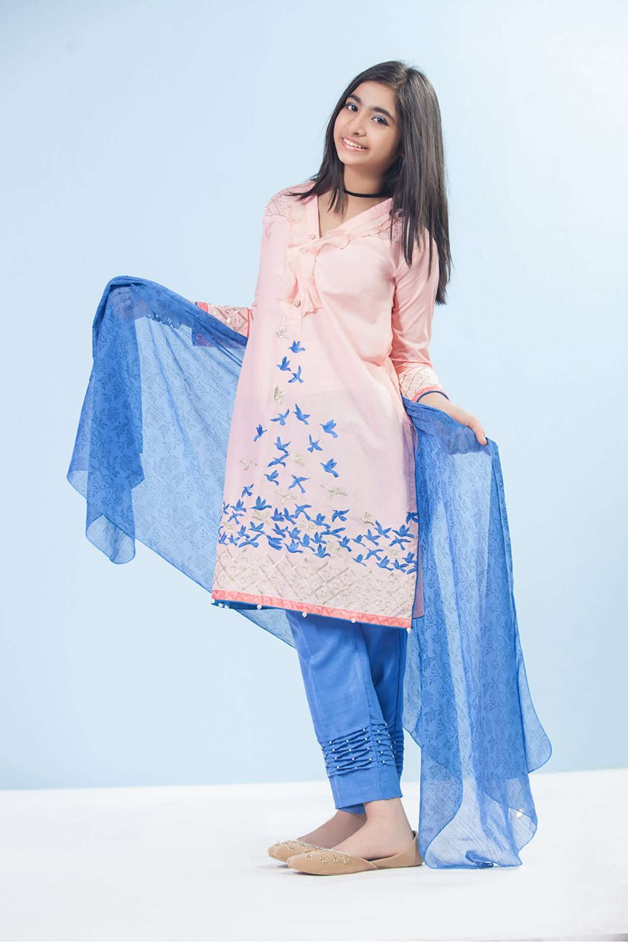 Ochre Cotton Embroidered 3 Piece Suits for Girls - Pink OFK 537