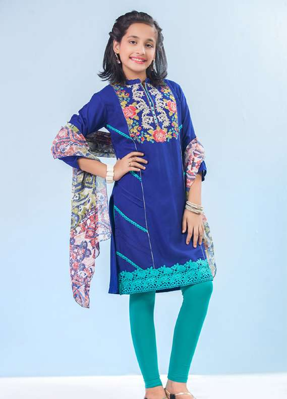 Ochre Acrylic Cotton Embroidered 2 Piece Suits for Girls - Blue OFK 543