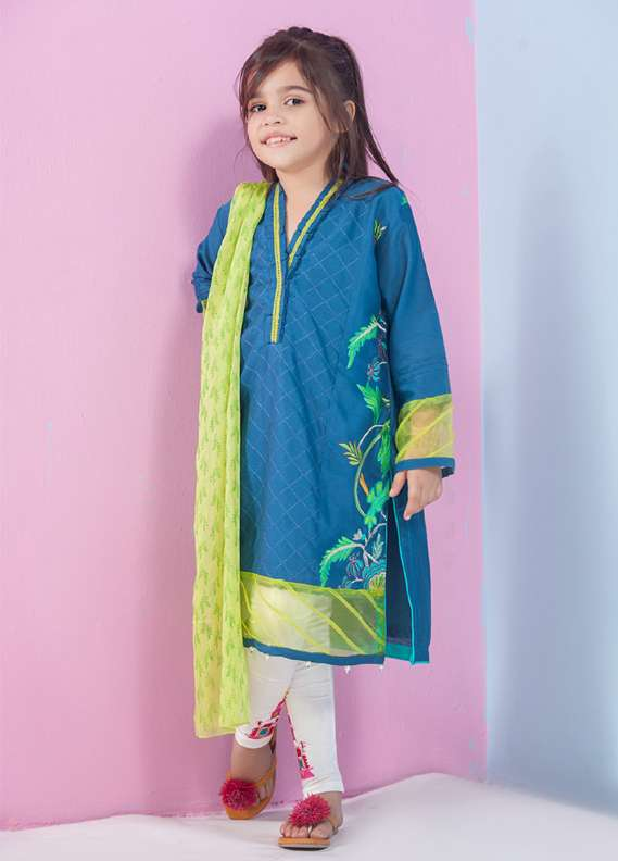 Ochre Cotton Embroidered 2 Piece Suit for Girls - Blue OFK 544