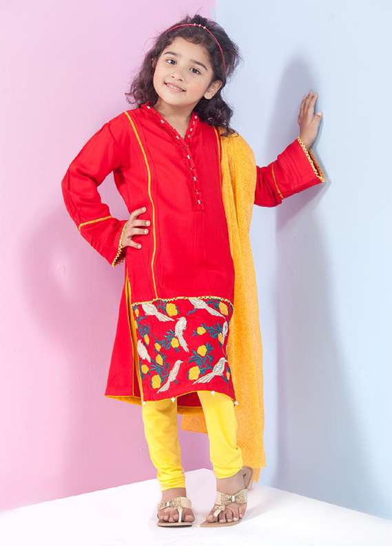Ochre Cotton Embroidered 2 Piece Suits for Girls - Red OFK 547