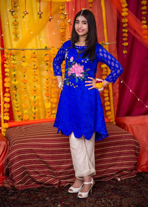 Ochre Broschia Silk Embroidered 2 Piece Suits for Girls - Blue OFK 552