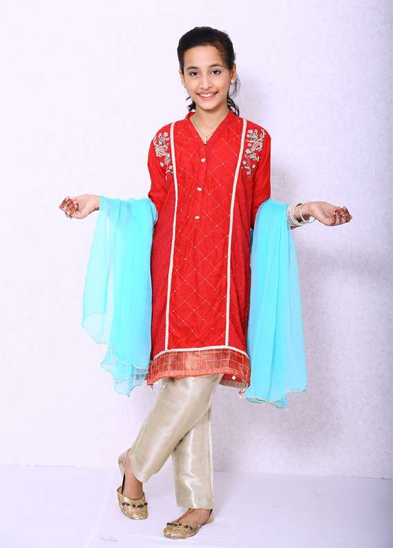 Ochre Cotton Embroidered 3 Piece Suit for Girls - Red OFW 51