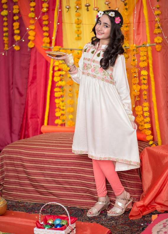 Ochre Acrylic Cotton Embroidered Kurtis for Girls - Off White OFW 91