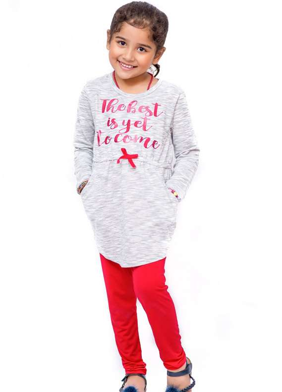 Ochre Cotton Stretch Fancy Tops for Girls - Grey OKT 114