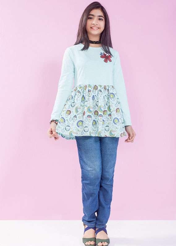 Ochre Cotton Slub Embroidered Tops for Girls - Blue OKT 95