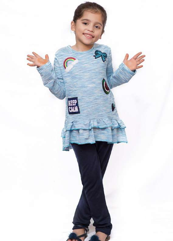 Ochre Cotton Stretch Embroidered Tops for Girls - Blue OKT 99