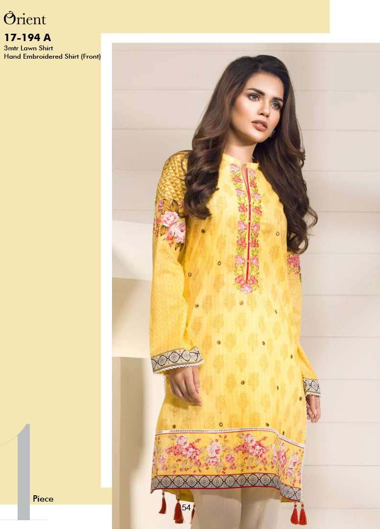 Orient Textile Embroidered Lawn Unstitched Kurtis OP17E 194A