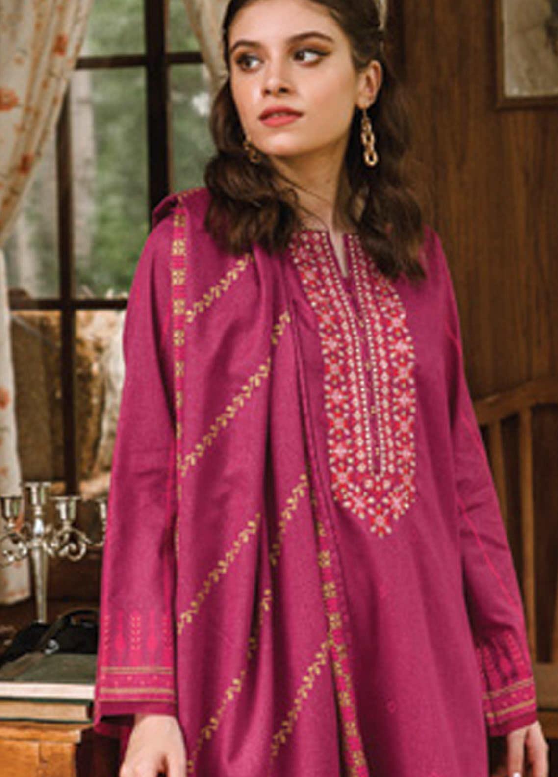 Orient Textile Embroidered Karandi Unstitched 3 Piece Suit OT20MW A-190 - Winter Collection