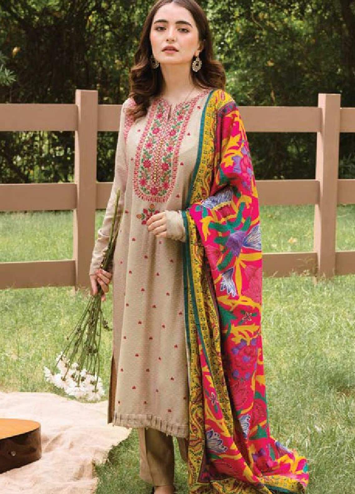 MYSA by Orient Embroidered Linen Unstitched 3 Piece Suit OT20-MW2 209 - Winter Collection