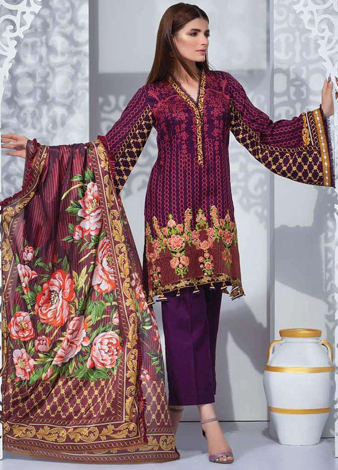 Orient Textile Embroidered Linen Unstitched 3 Piece Suit OT18W 245A Crimson - Winter Collection