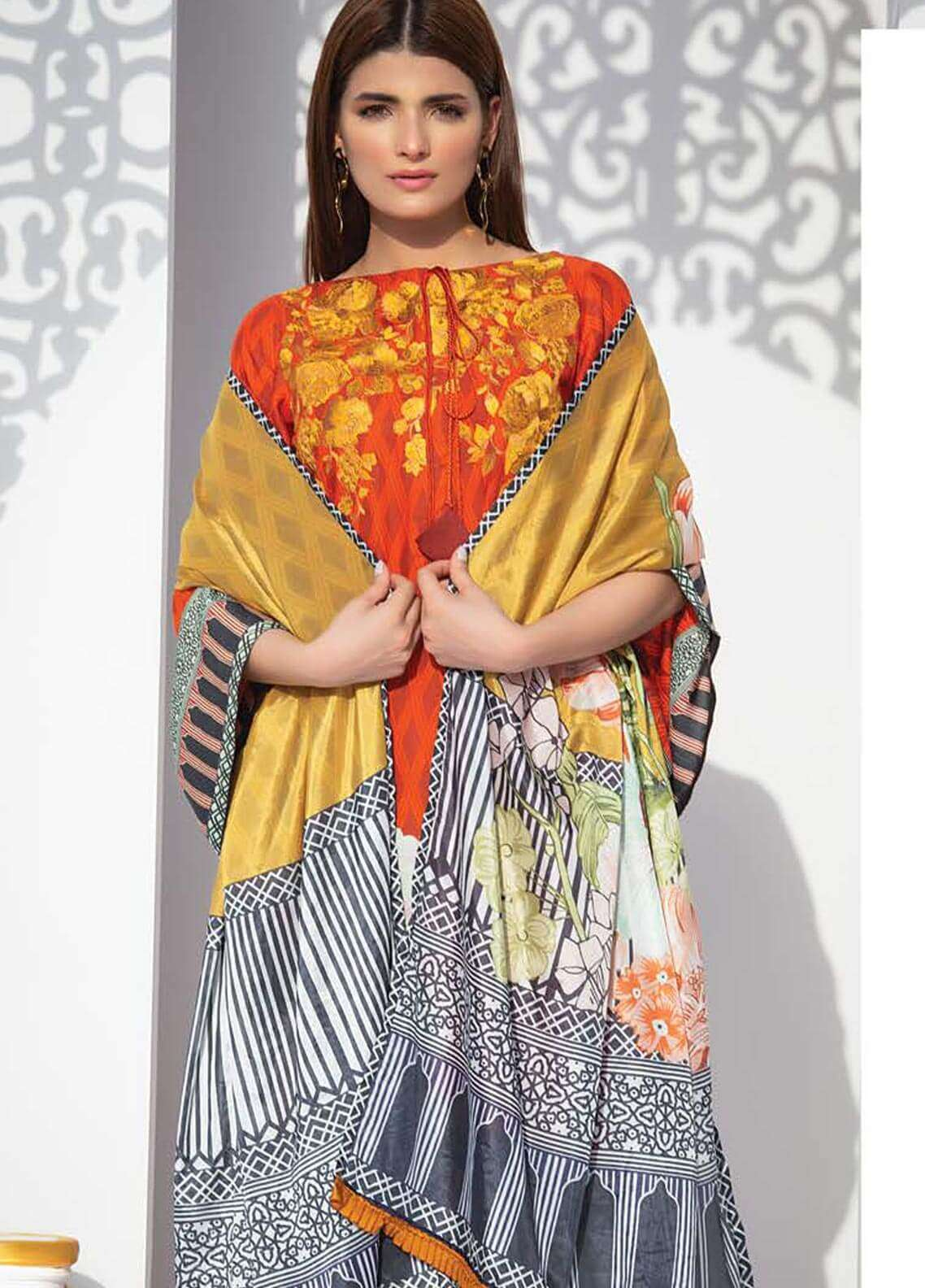 Orient Textile Embroidered Linen Unstitched 3 Piece Suit OT18W 246B Winter Breeze - Winter Collection