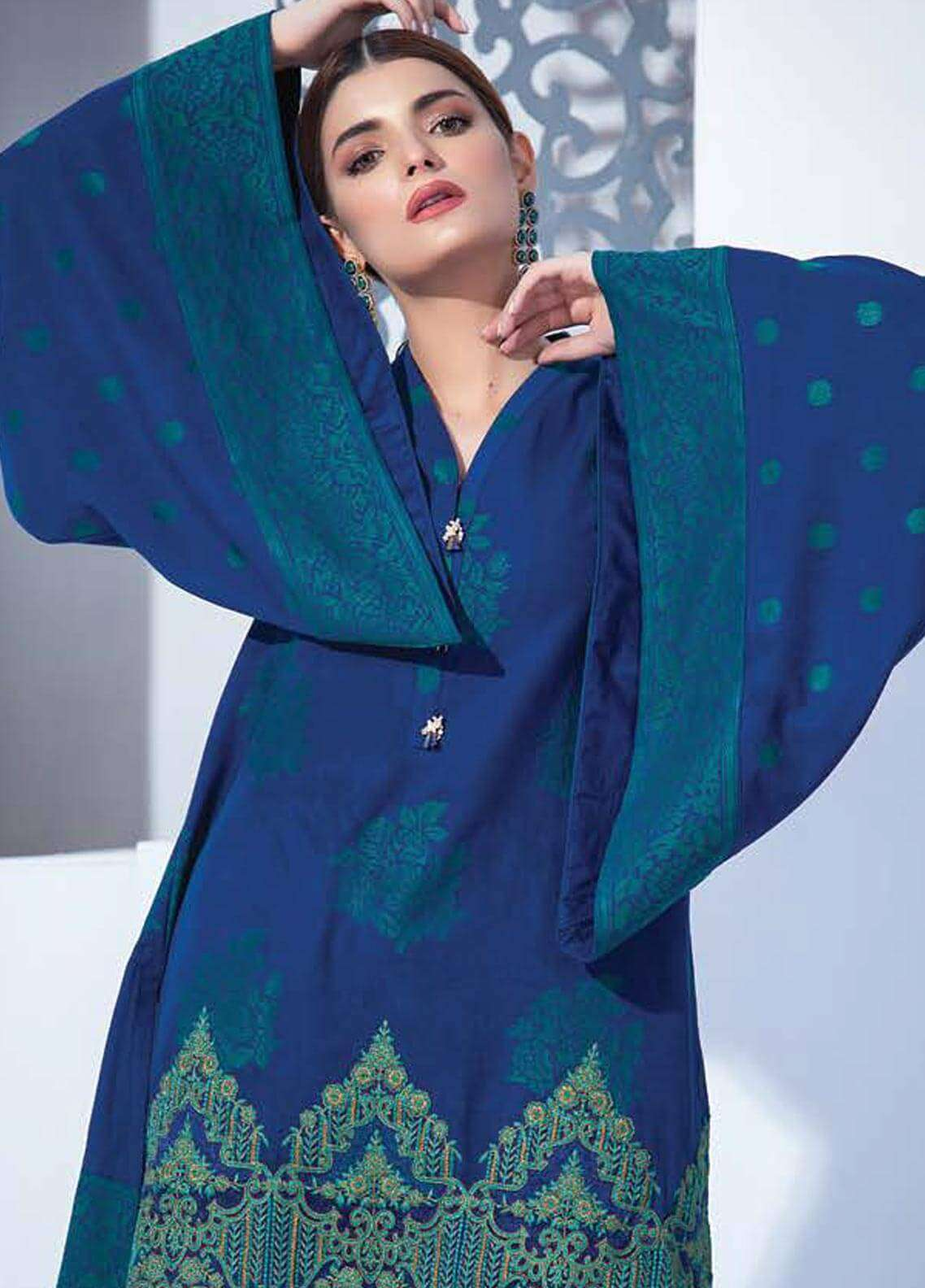 Orient Textile Embroidered Khaddar Unstitched 3 Piece Suit OT18W 252A Rose Cloud - Winter Collection
