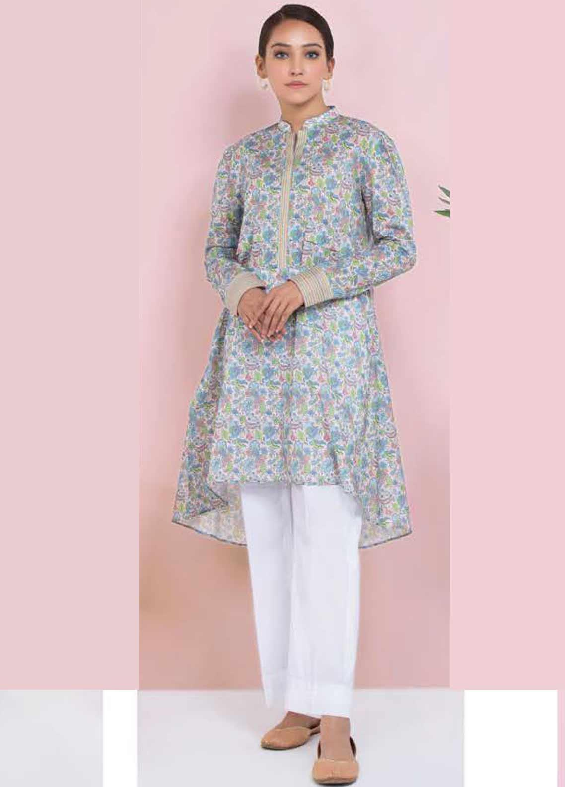 Orient Textile Printed Lawn Unstitched Kurties OT20SS 044B - Spring / Summer Collection