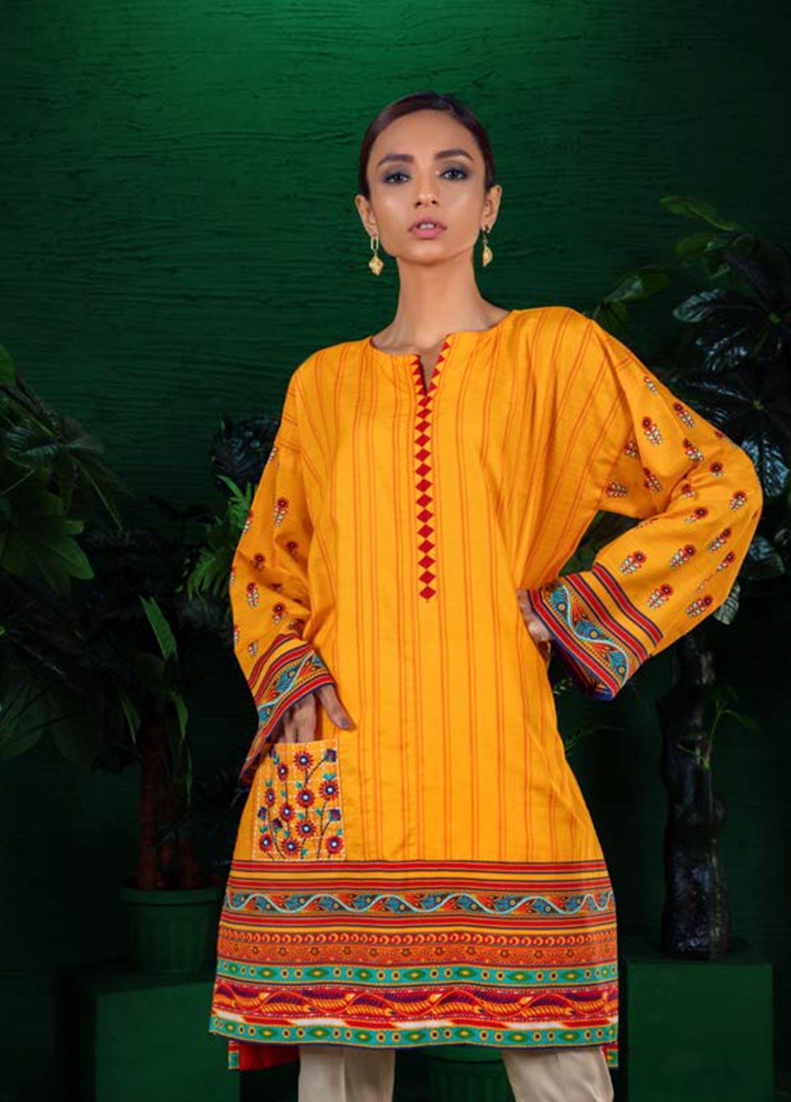 Orient Textile Embroidered Khaddar Unstitched Kurties OT19W 171 MANGO A - Winter Collection