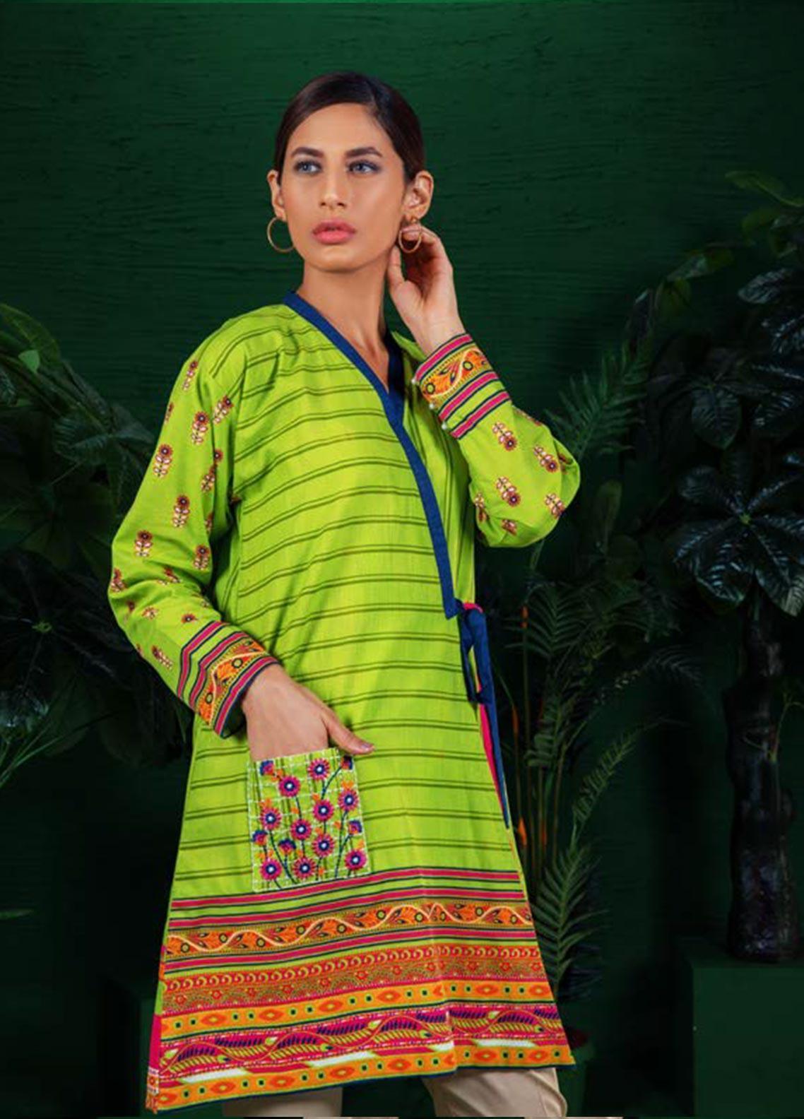 Orient Textile Embroidered Khaddar Unstitched Kurties OT19W 171 MANGO B - Winter Collection
